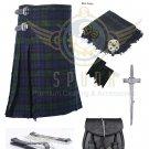 Men's Scottish Black Watch 8 yard kilt Package with Pin Lock Black Leather sporran