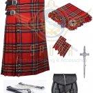 Men's Scottish Royal Stewart 8 yard kilt Package with Pin Lock Black Leather sporran