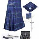 Men's Scottish Spirit of Scotland 8 yard kilt Package with Pin Lock Black Leather sporran