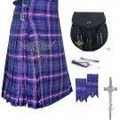 Men's Scottish Masonic 8 Yard KILT Tartan kilt- Sporran - Flashes -kilt Pin Waist 34