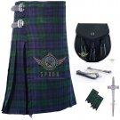 Men's Scottish Black Watch 8 Yard KILT Tartan kilt- Sporran - Flashes -kilt Pin