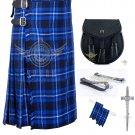 Men's Scottish Ramsey Blue 8 Yard KILT American Patriot tartan kilt- Sporran - Flashes - kilt Pin