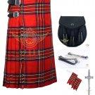 Men's Scottish Royal Stewart 8 Yard KILT - Sporran - Flashes - kilt Pin Waist 44