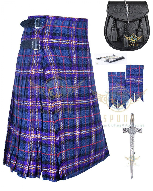 Men's Scottish Masonic 8 yard kilt Traditional kilt - Flashes - kilt pin - Leather Sporran