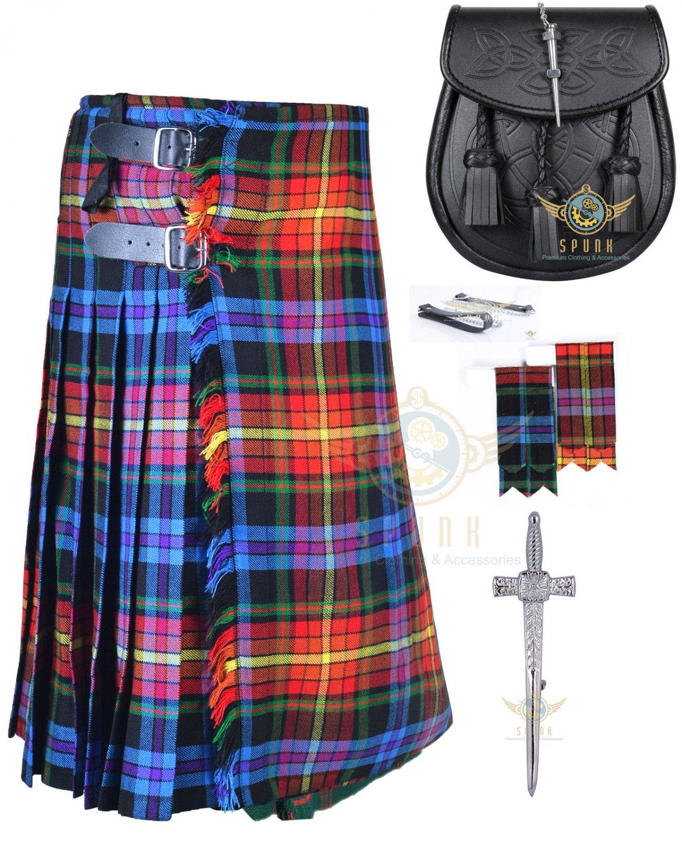 Men's Scottish LGBTQ 8 yard kilt - Flashes - kilt pin - Black Leather Sporran