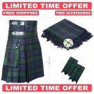 Scottish Black Watch Utility Kilt Leather Straps kilt Free Fly Plaid - Brooch- Flashes
