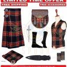 Men's Scottish Traditional Black Stewart 8 Yard Kilt TARTAN KILTS Package - 9 Accessories