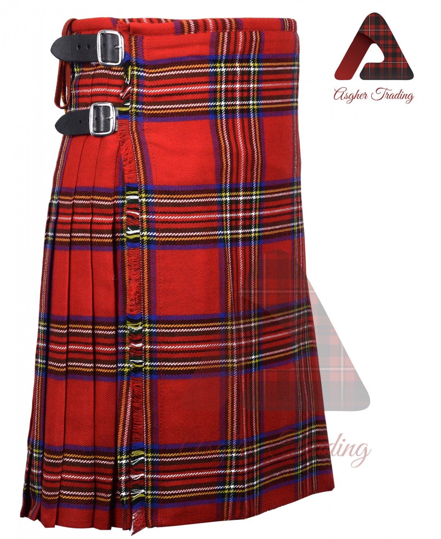 Scottish Royal Stewart 8 yard KILT For Men Highland Traditional Acrylic Tartan Kilts