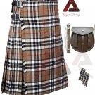 Traditional Outfit Scottish Camel Thompson 8 Yard Tartan KILTS For Men - kilt Sporran - Flashes