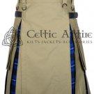 Scottish UTILITY Hybrid Mens Kilt Khaki Cotton Ramsey Blue Tartan Highland Kilt