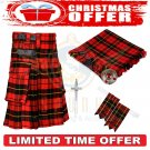 Men's Scottish Wallace Tartan Utility Kilt 2 Cargo Pockets Kilts Christmas offer