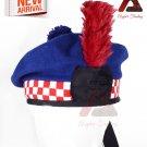 Scottish Highlander Military Piper DICED BALMORAL Hat/KILT CAP Bonnet Royal Blue 100% Wool