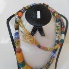 RARE ANTIQUE JEWELERY NECKLACE - MULTI-COLORED AFRICAN GLASS BEADS - COCONUT FIBER CORD.
