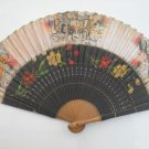 HAND PAINTED ANCIENT SPANISH ARTISANAL FOLDING FAN.