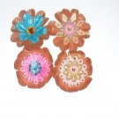 flowers hand made 4 per set