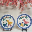 Pair of Beautiful Japanese Plates With Toddlers Frolicking