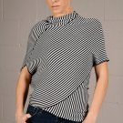 Small Freeway Black & White Striped Asymmetrical Top