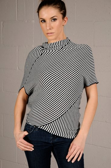 Medium Freeway Black & White Striped Asymmetrical Top