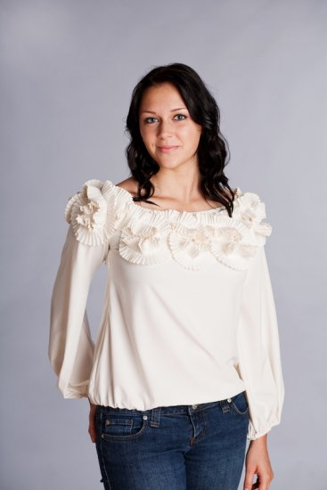 RYU Creme Off the Shoulder Small Top with Floral Details