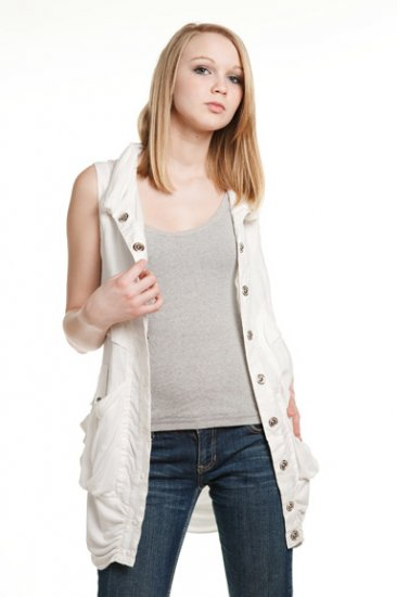 MurMur White Sleeveless Linen Small Jacket Vest