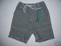 NWT Gymboree SURF CAMP Boy Strip Denim Shorts 12-18