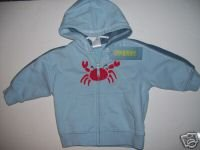 NWT Gymboree SALT WASHED Crab Hoodie Jacket 3-6 m