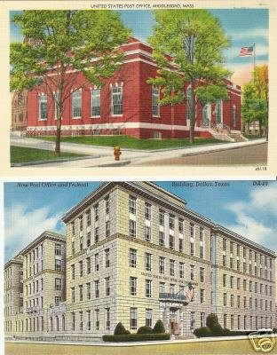 Lot of 2 Post Office - Middleboro, MA - Dallas, TX