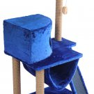 """Pets Play complex for cats """"Murka"""", blue, 60 x 45 x 120 cm, house, scratching post, animals Gift"""