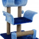 """Pets game complex for cats ZooMark """"Vaska"""" blue / dark blue, house, scratching post, animals Gift"""