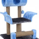 """Pets game complex for cats ZooMark """"Vaska"""" blue /gray, house, scratching post, animals Gift"""