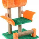 """Pets game complex for cats ZooMark """"Vaska"""" orange / green, house, scratching post, animals Gift"""