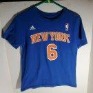 Youth Boys Rookie Porzingis #6 New York Knicks Adidas Sz M 10/12 Tee Shirt NBA