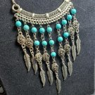 """Necklace Faux Turquoise  Flower Feather Design USA SHIPPER 20"""" Lobster ODJB01 11"""
