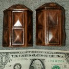 "Treasure Craft Salt and Pepper Shakers Spice RARE Faux Wood Hexagonal 3 1/4"" H"