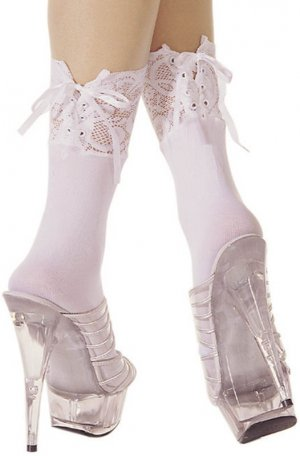 Opaque Ankle Hi Socks With Ajustable Lace Up Tops  ML-548 (White)