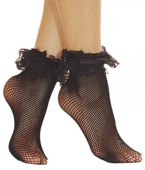 FISHNET ANKLE SOCKS WITH RUFFLE LACE TOP. . ML597 (Black)