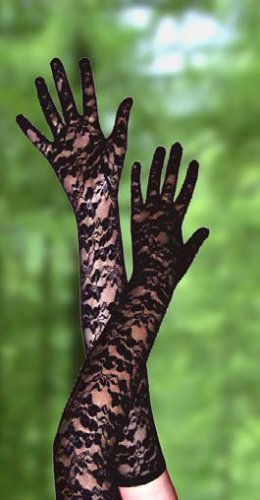 Sexy Long Rose Lace Gloves. (Black)