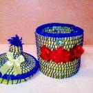 ✅handmade Vintage༺ basket ༻Basket with lid, basket natural-storage- easter basket-Corbeille
