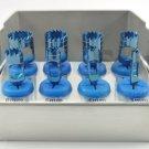Dental Trephine Drill Kit 8 Pcs Surgical Burs Holder Bone Graft Implant Blue Surgery Orthodontics CE