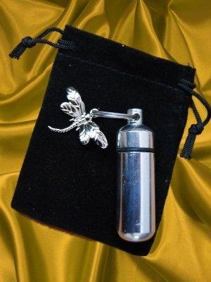 Silver Dragonfly Cremation Urn Keychain w/ Velvet Pouch