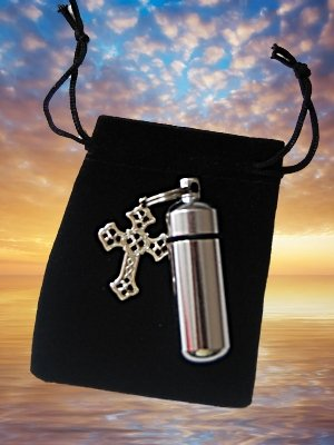 Silver Cross CREMATION URN Keychain with Velvet Pouch
