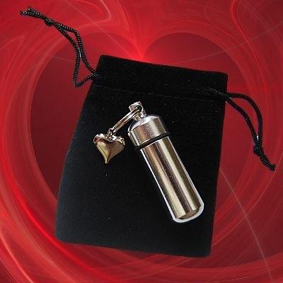 TWO Silver Heart Cremation Urn Keychain w/ Velvet Pouch