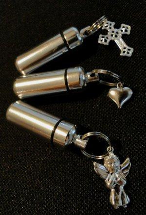 Trio of Cremation Urn Keychains - Angel  Cross  Heart