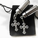 Set of TWO Filigree Silver Cross CREMATION URN Memorial Keepsakes & Velvet Pouch