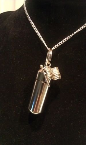 """Silver American Flag PILL HOLDER 24"""" NECKLACE & Pouch"""