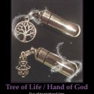 Duo of Inspirational Cremation Urns TREE OF LIFE and HAND OF GOD with Pouch