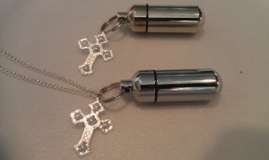 Silver Cross  2pc. Special Set - Cremation Urn Necklace & Keychain Urn & Pouch