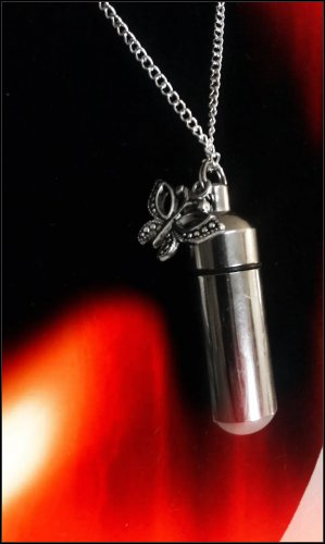 """Lovely Silver PILL HOLDER 18"""" NECKLACE Pendant &  BUTTERFLY Charm"""