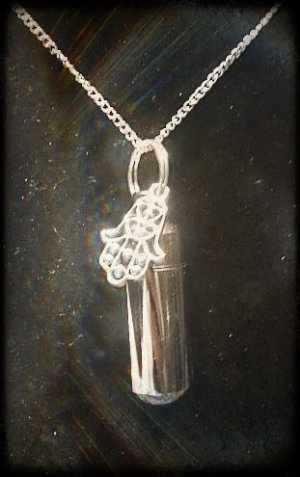 """Inspirational Silver HAND OF GOD Cremation Urn 24"""" NECKLACE Keepsake & Pouch"""