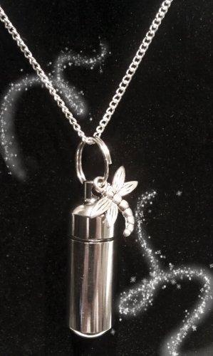 "Wonderful Silver Dragonfly CREMATION URN 18"" NECKLACE Memorial Keepsake"